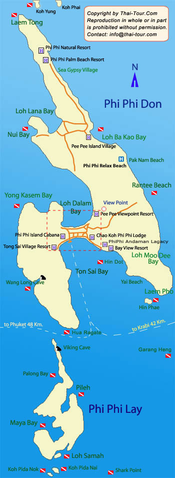 Map of Koh Phi Phi